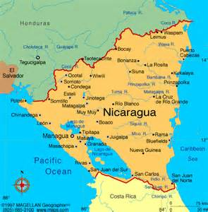 Nicaragua World Map by Belize