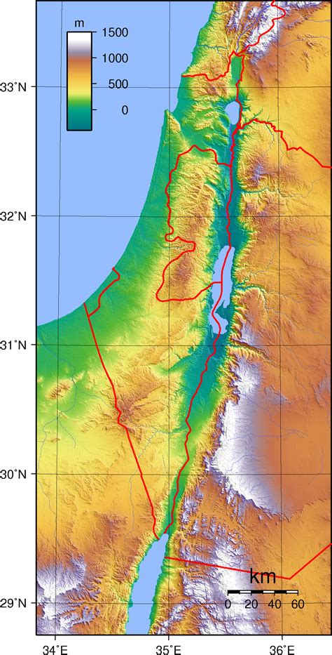 maps of jerusalem topographic map of israel and palestine and neighboring