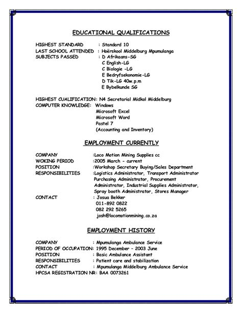 exle of a cv layout south africa michelle du plooy cv