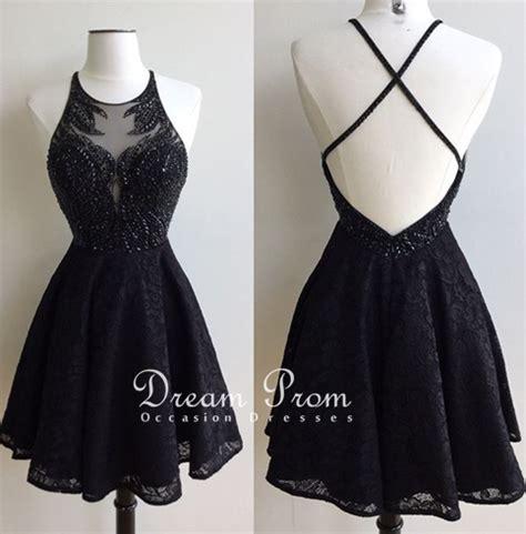 design dream prom dress stylish black lace beading short prom dress homecoming