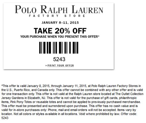 discount vouchers ralph lauren polo ralph lauren factory coupons extra 20 off at polo
