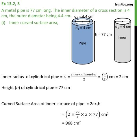 cross sectional area of a cylinder calculator ex 13 2 3 a metal pipe is 77 cm long the inner