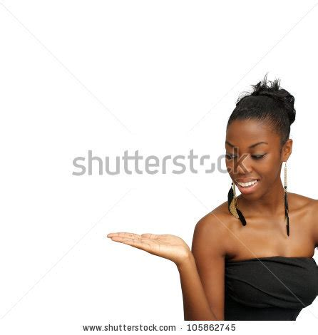 a lovely young black hostess holding her right hand out