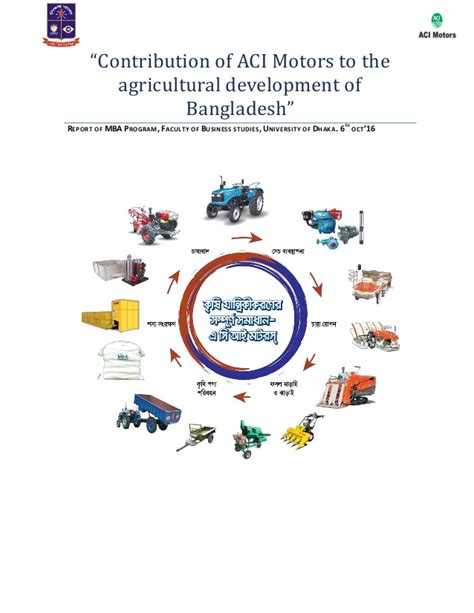 Mba In Agribusiness In Bangladesh by Contribution Of Aci Motors To The Agricultural Development