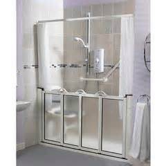 handicap shower door alcove setting half height bi fold shower door open