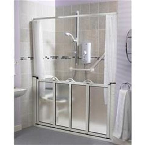 Handicap Shower Door Alcove Setting Half Height Bi Fold Shower Door Open Shower Water Containment Pinterest