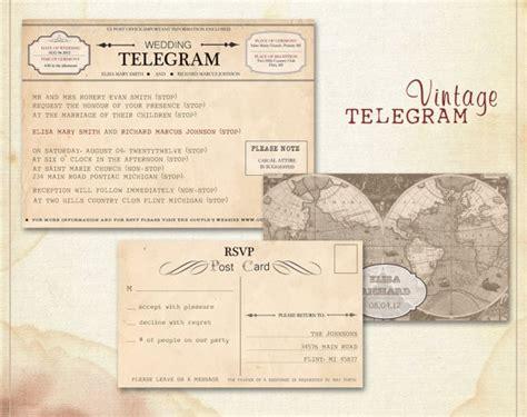 wedding telegram template printable wedding invitations template vintage wedding by