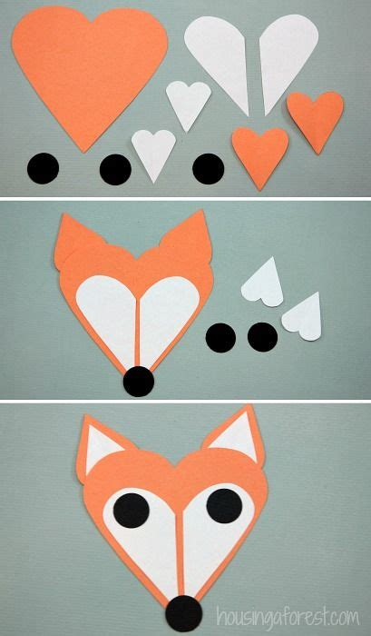 Easy Paper Crafts For Preschoolers - fox craft fox made of shapes