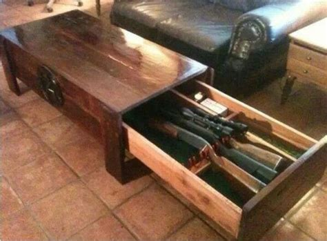 coffee table with hidden gun storage hidden long guns and pistol storage in coffee table for