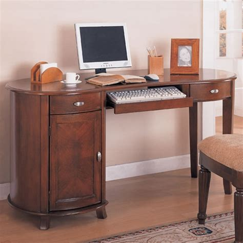 Kidney Shaped Computer Desk Home Office Kidney Shaped Computer Desk In Cherry Finish By Coaster 800021