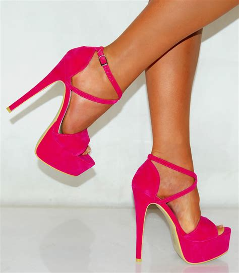 fuschia bright pink suede court platform shoes