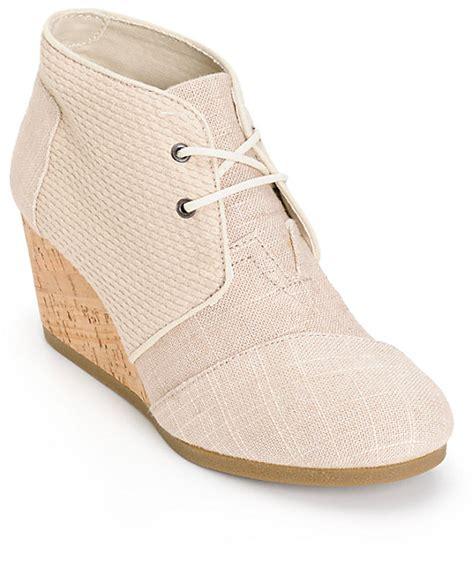 toms whisper burlap desert wedge shoes