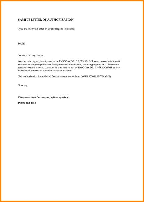 authorization letter format to get my salary 6 authorization letter to receive documents dialysis