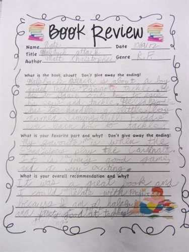 how to write a book report for 6th grade sixth grade book report form source