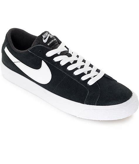 nike sb blazer zoom black white suede skate shoes