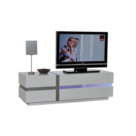 Crossana Small TV Stand In White Gloss With 2 Door And LED