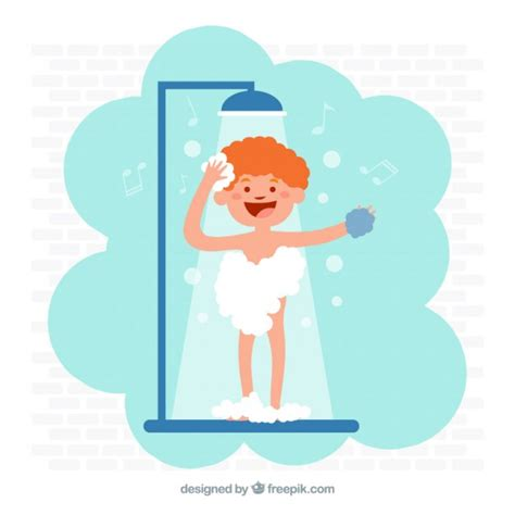 Takes A Shower by Child Taking A Shower Vector Free