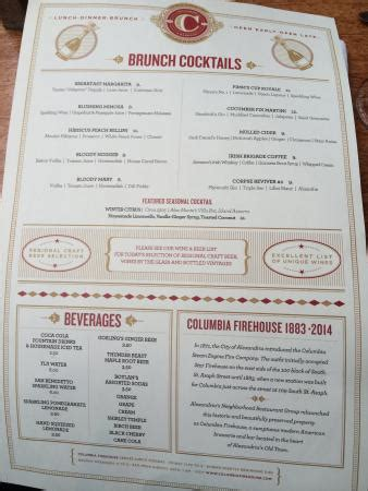 cocktail menu for 50 cocktail menu picture of columbia firehouse alexandria