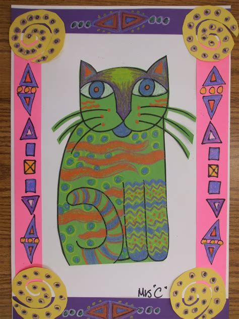 pattern cat art lesson rainbow skies dragonflies laurel burch inspired cats