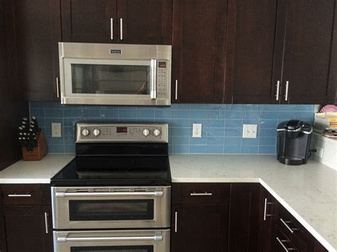 blue subway tile backsplash sky blue glass subway tile kitchen backsplash with dark