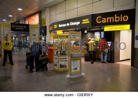 bureau de change gatwick airport corp currency exchange stock photo royalty free