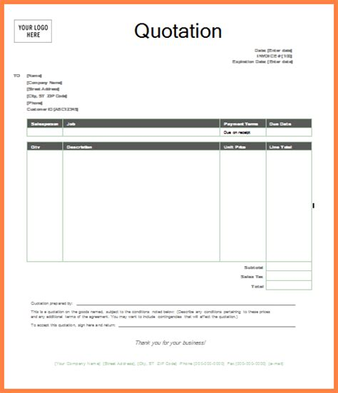 Word Quotation Template word images