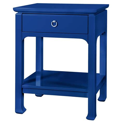 Blue Nightstands top drawer regency blue lacquer nightstand kathy kuo home