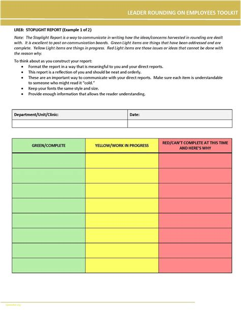 Stoplight Report Template