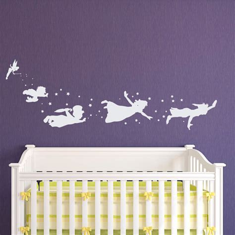 peter pan crib bedding peter pan children flying silhouette fantasy fairytale magic