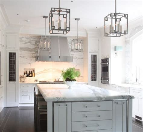 white gray glaze kitchen island with gray marble counter lucite cabinet pulls design ideas