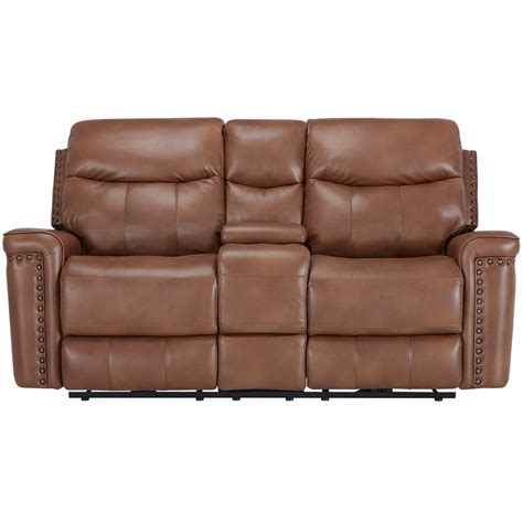 reclining loveseat with console microfiber city furniture wallace medium brown microfiber power