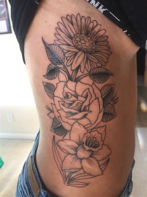 daffodil and rose tattoo black outlined narcissus flowers tattoos