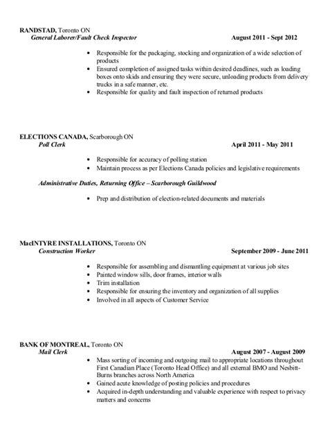 Poll Clerk Sle Resume by Ken Radcliffe S Copy Resume