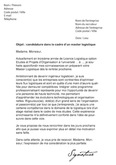 Exemple De Lettre De Motivation Universite Lettre De Motivation Master Logistique Mod 232 Le De Lettre