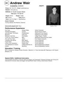 Modeling Resume by Qualifications Resume Sle Child Acting Resume Template Acting Resume Sles For Beginners