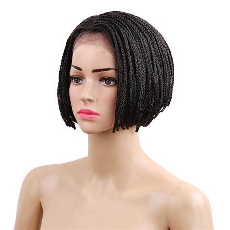 african box braided front lace wigs delice 6inch women synthetic lace front bob short wig baby