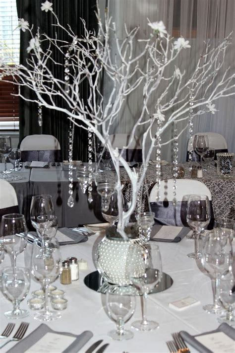 black manzanita tree centerpieces black gray and bling wedding manzanita centerpiece grey silver white bling wedding theme