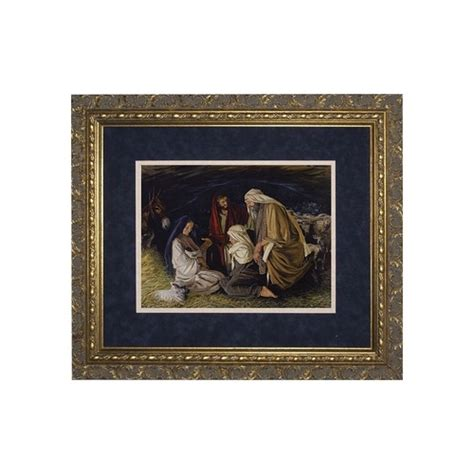 14 X 22 Matted Frame by Adoration Of The Shepherds Matted W Ornate Gold Frame