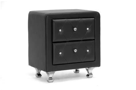 Black Leather Nightstand by Stella Tufted Black Upholstered Modern Nightstand