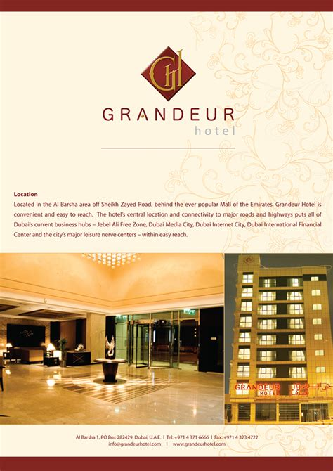 flyer design dubai brochures flyers grandeur hotel dubai u a e on behance