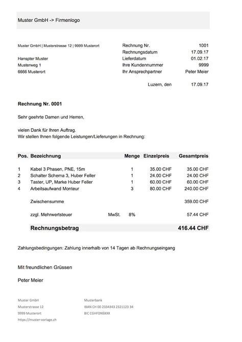 Rechnung In Schweiz Mwst rechnungsvorlage schweiz f 252 r word excel kostenlos
