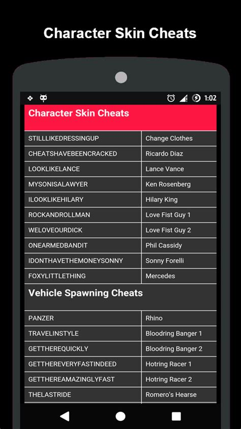 cheats for android codes for gta vice city android apps on play
