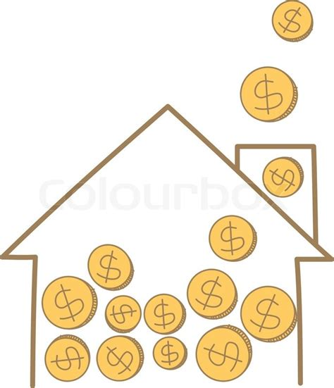 Free A Frame House Plans Cartoon Drawing Of Money Coin Falling On House Frame