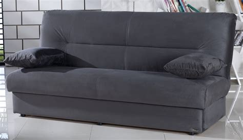 regata gray microfiber sofa bed with storage