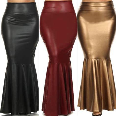 plus skirt faux leather size high waist mermaid