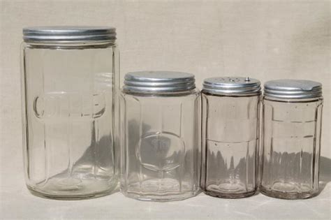 vintage glass canisters kitchen vintage hoosier jars depression glass kitchen canisters for coffee tea spice jar s p shakers