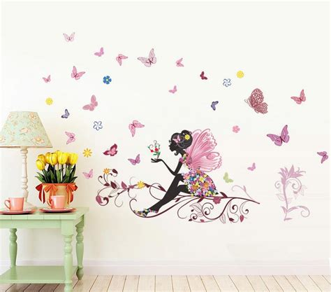 Removable Wall Stickers For Kids Rooms removable and reusable flower fairy vinyl wall decals