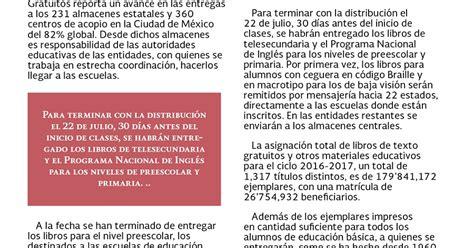 libros de texto gratuitos 2016 2017 diario educacin distribuci 243 n de libros de texto 2016 2017 educaci 243 n b 225 sica