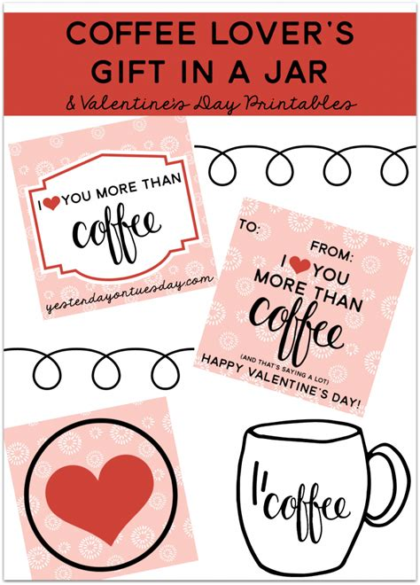 printable coffee jar labels coffee lover s gift in a jar with valentine s day