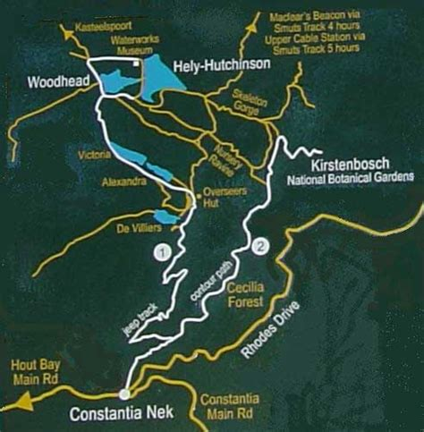 table mountain trail map cape town table mountain hiking trails